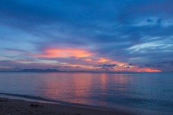Amazing blue with pink sunset. Sea and sky.