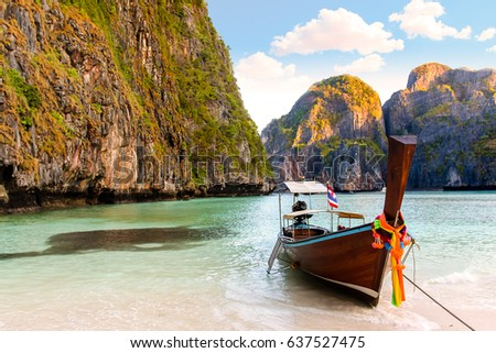 Amazing boat view in Maya Bay - Shutterstock ID 637527475