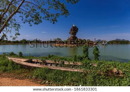 Amazing Buddhist Kyauk Kalap Pagoda in Hpa-An, Myanmar (Burma) Stock fotó ©