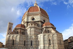 Amazing Cathedral of Santa Maria del Fiore (Il Duomo di Firenze), Florence, Italy. The basilica is one of Italy's largest churches, UNESCO World Heritage Site