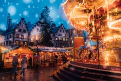 Amazing Christmas market spirit in Frankfurt, Germany. December 2, 2017. Celebrating new years eve. Happy holidays.