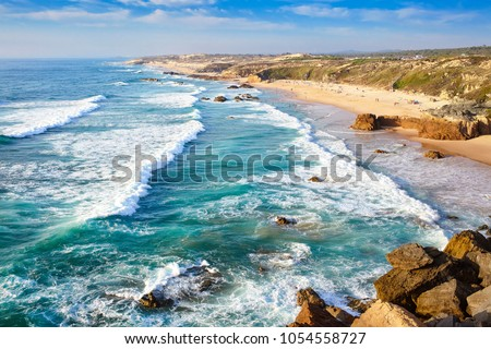 Amazing cliff rocks on the west coast of Portugal in Alentejo region