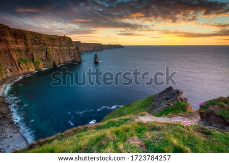 Amazing Cliffs of Moher at sunset in Ireland, County Clare. Stock fotó ©