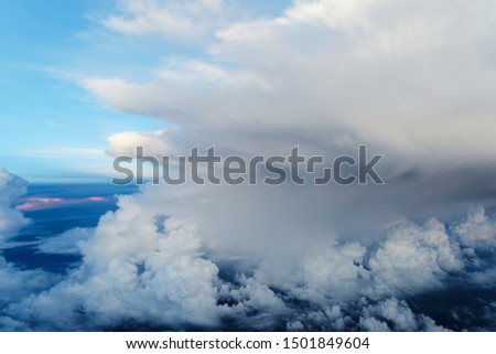 Amazing cloud in the blue sky, cloudscape from porthole #1501849604