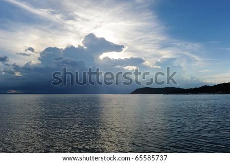 Amazing clouds over the sea, The west coast of island Samui