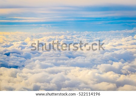 Stock Photo Amazing Cloudy Sky Background, Aerial View, Horizontal View