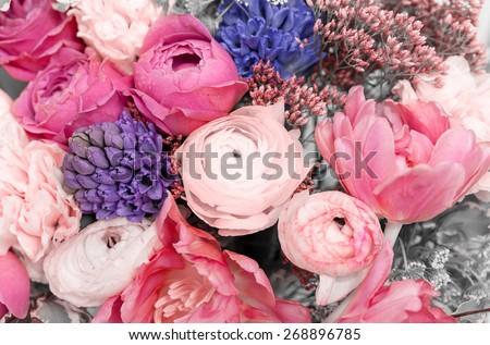 Stock Photo Amazing colorful summer bouquet closeup