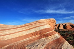 Amazing colors and shape of the Fire Wave at sunset, Valley of Fire State Park, Nevada, USA