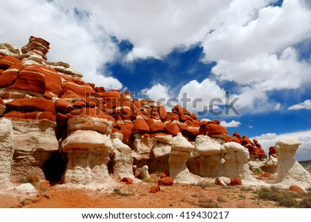 Amazing colors and shapes of sandstone formations of Blue Canyon in Hopi reservation, Arizona, USA