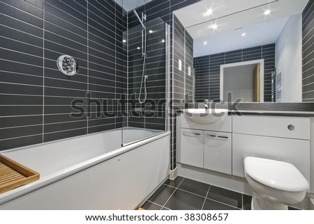Tile  Bathroom Floor on Amazing Contemporary Bathroom With Rectangular Gray Ceramic Tiles