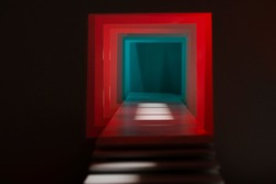 Amazing cube corridor with stairs. Blue and red light. Abstract and magical design. Cube. Square. Cyber room.