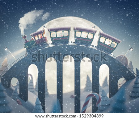 Amazing cute Santa's christmas train goes by a brige in north pole. Unusual christmas 3d illustration