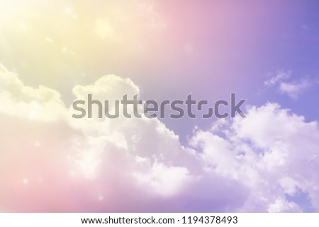 Amazing dreamy sweet colourful fantasy sky with big clouds #1194378493