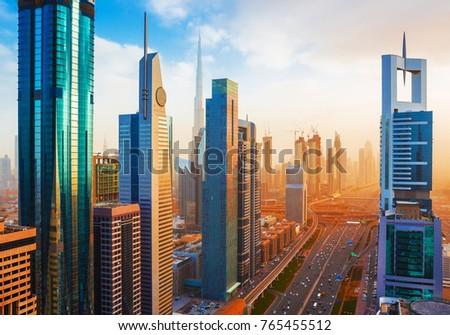 Amazing Dubai downtown skyscrapers and Sheikh Zayed road, United Arab Emirates