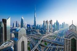 Amazing Dubai skyline at the sunset,Dubai,United Arab Emirates