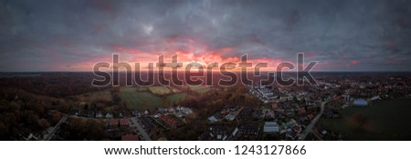 Amazing Dusk over small German Town.