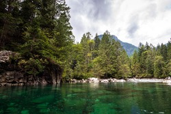 amazing emerald waters of a quiet river in the middle of a forest of pines trees in the rocky mountains of british columbia
