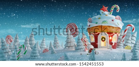 Amazing fairy Christmas house in shape of Christmas gingerbread muffin with sweets on top decorated of Christmas lights in a magical forest with candy canes. Unusual Christmas 3d illustration postcard
