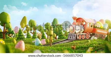 Amazing fairy Easter train in a magical forest. Unusual Easter 3d illustration postcard. Easter concept