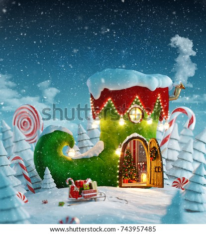 Amazing fairy house decorated at christmas in shape of elfs shoe with opened door and fireplace inside in magical forest. Unusual christmas 3d illustration postcard.