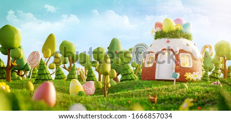 Amazing fairy house decorated at Easter in shape of cake on the meadow in spring sunny day. Unusual Easter 3d illustration postcard.