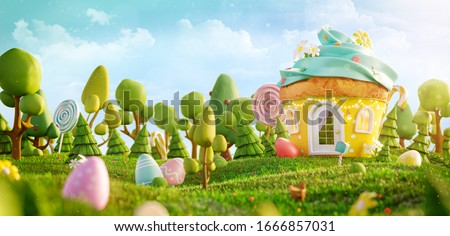 Amazing fairy house decorated at Easter in shape of muffin on the meadow in spring sunny day. Unusual Easter 3d illustration postcard.