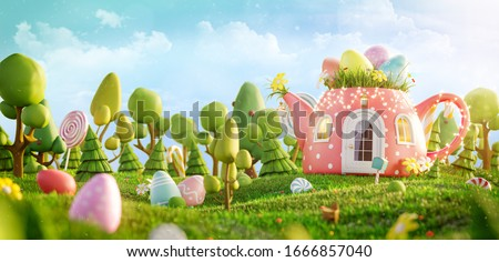Amazing fairy house decorated at Easter in shape of teapot on the meadow in spring sunny day. Unusual Easter 3d illustration postcard.