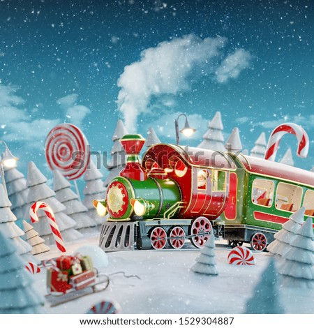 Amazing fairy Santa's Christmas train in a magical forest with candy canes. Unusual Christmas 3d illustration postcard.