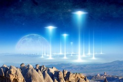 Amazing fantastic background - ufo fly above surreal terrain, alien arrival on planet Earth, full moon rises above the horizon. Elements of this image furnished by NASA