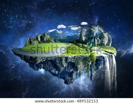 Amazing fantasy scenery with floating islands, water fall and field on space #489532153