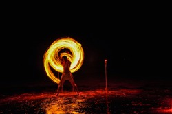 Amazing Fire Show at night on Khoa chang Island, Thailand