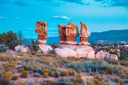 Amazing Four Hoodoos sandstone formations in Garden in beautiful evening light at twilight, Grand Staircase-Escalante National Monument, Utah, USA