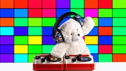 amazing funky teddy bear brought to life DJing on mini turntables