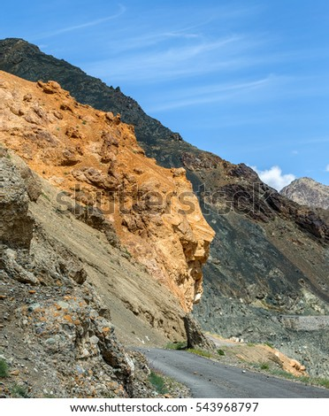 Amazing geological formations near road from Leh to Lamayuru