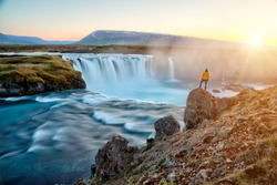 amazing Godafoss waterfall in Iceland during sunset, Europe