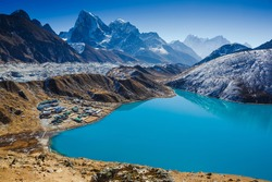 Amazing Gokyo lake on Everest Base Camp Trek. Himalayas. Early morning. View from Gokyo Ri