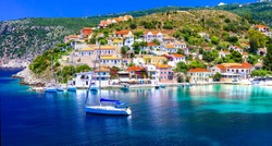 Amazing Greece series - beautiful colorful village Assos in Kefalonia island