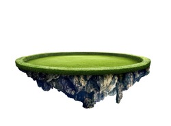 Amazing green field island floating in the air isolated with white background