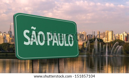 Amazing green sign of Sao Paulo City with Ibirapuera Park in the background Brazil South America