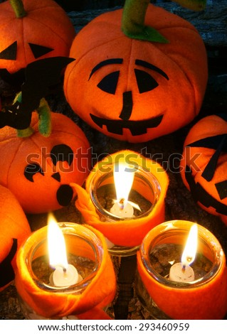 Amazing halloween background in red color, group of handmade pumpkin on night, light from candle make scary, horror symbol, halloween is tradition season #293460959
