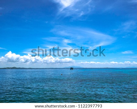 Amazing Idyllic ocean and Beautiful Blue sky in vacation time,Holiday on the beach,Summer concept.Thailand #1122397793