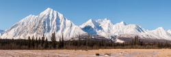 Amazing jagged mountains seen from Kluane National Park in Yukon Territory, Northern Canada.