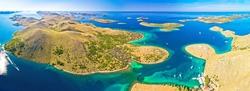 Amazing Kornati Islands national park archipelago panoramic aerial view, landscape of Dalmatia, Croatia