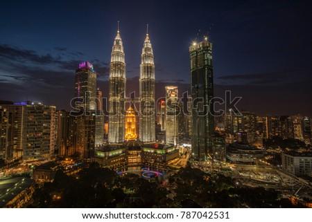 amazing kuala lumpur city, the capital city of Malaysia during night.