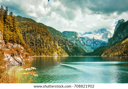 Amazing lake Gosausee and Dachstain peak in Ausrian Alps,Austria - Shutterstock ID 708821902