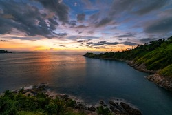 Amazing Landscape light nature scenery view, Beautiful light sunrise or sunset over Tropical sea and mountains peak in thailand Aerial view High angle view