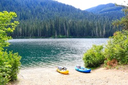 Amazing landscape of Cle ELum, WA Cascade mountains small American mountain town one hour east from Seattle. Kayaking at the lake.