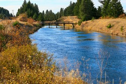 Amazing landscape of Cle ELum, WA Cascade mountains small American mountain town one hour east from Seattle. Water canal near Peoh Point Road.