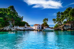 Amazing landscape of the island of Panagia located right in front of the port of Parga. A dreamy summer destination placed near the cities of Preveza and Igoumitsa. Ionian Sea. Epirus. Greece.
