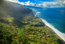 amazing landscape with a small village Arco de Sao Jorge on the north side of Madeira, Portugal